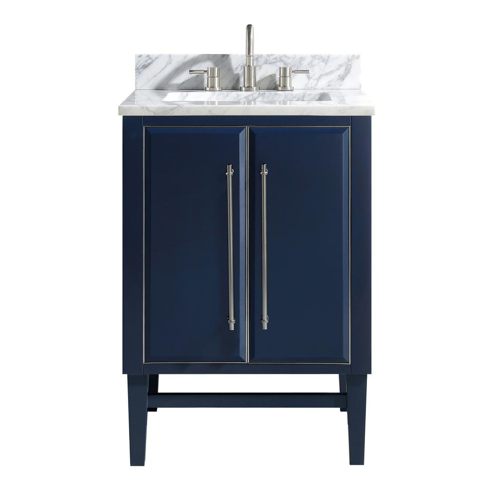 Avanity Mason 25 in. W x 22 in. D Bath Vanity in Navy Blue/Silver Trim with Marble Vanity Top in Carrara White with White Basin
