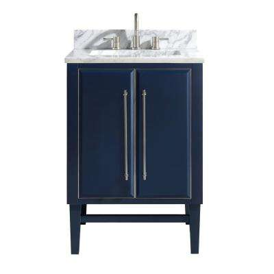 Mason 25 in. W x 22 in. D Bath Vanity in Navy Blue/Silver Trim with Marble Vanity Top in Carrara White with White Basin