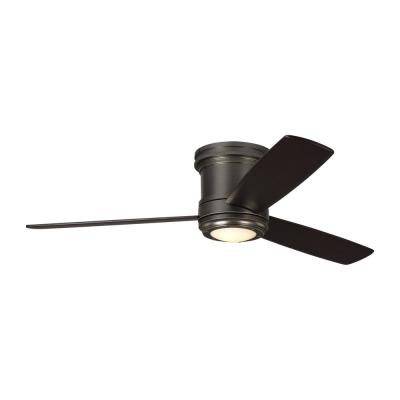 TOB by Thomas O'Brien Aerotour Semi-Flush 56 in. Integrated LED Bronze Ceiling Fan with Light Kit and DC Motor
