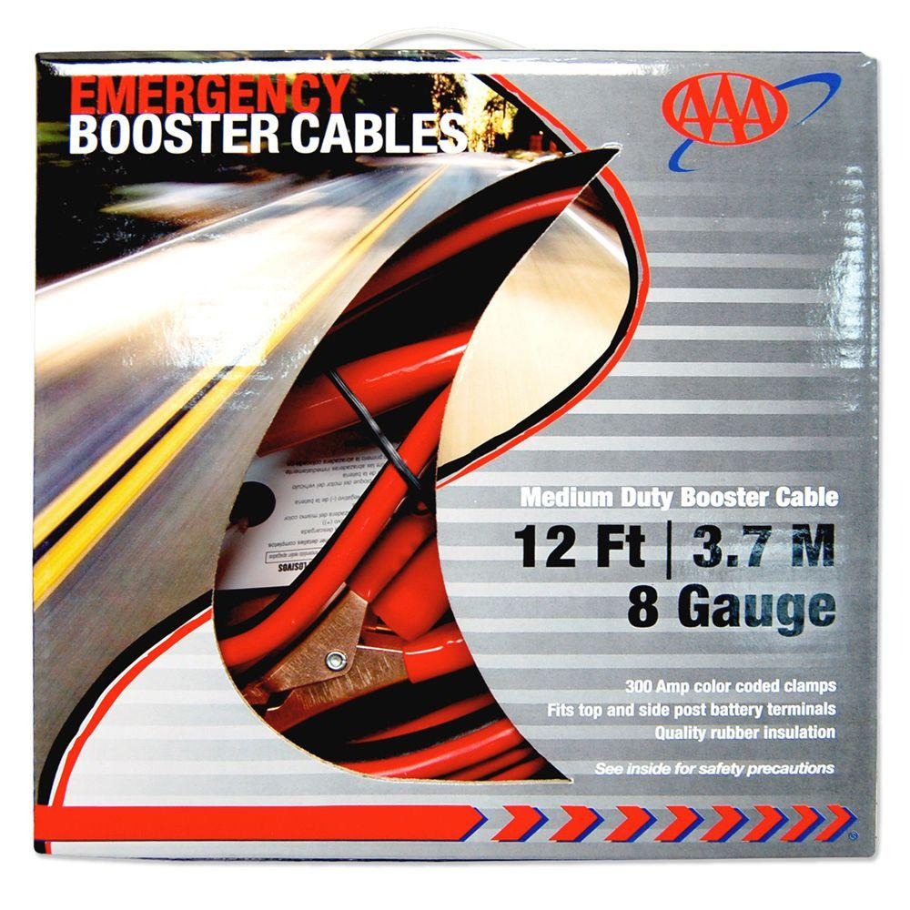 AAA 12 ft. 8 Gauge Emergency Booster Cables