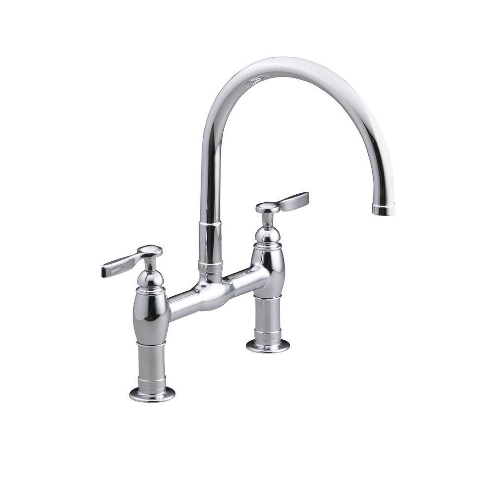 Kohler Parq Deck Mount 12 In 2 Handle Mid Arc Bridge Kitchen Faucet In Polished Chrome K 6130 4 Cp The Home Depot