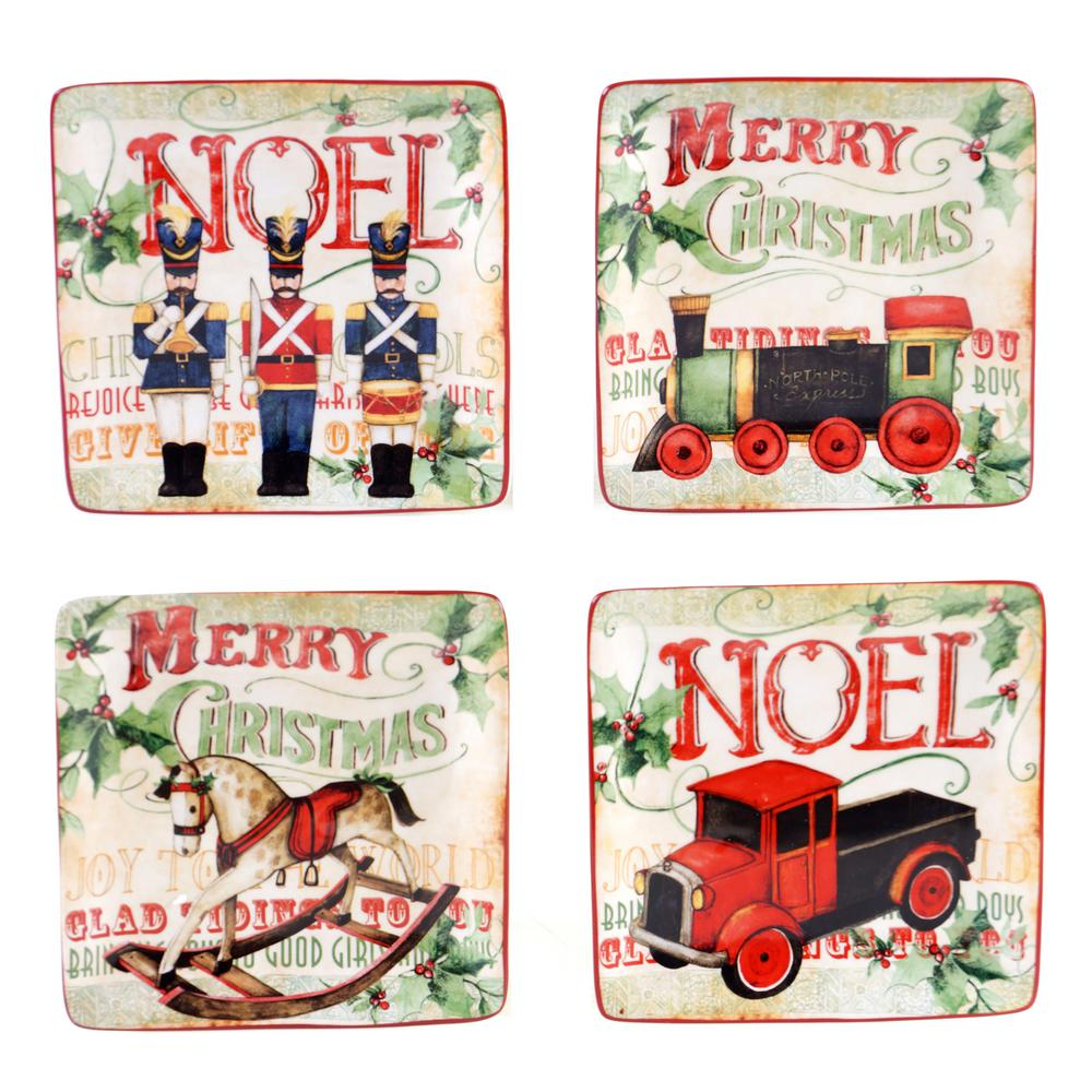 Certified Intl Santa's Workshop 6 in. Canape Plate (Set o...