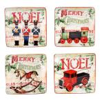 Santa's Workshop 6 in. Canape Plate (Set of 4)
