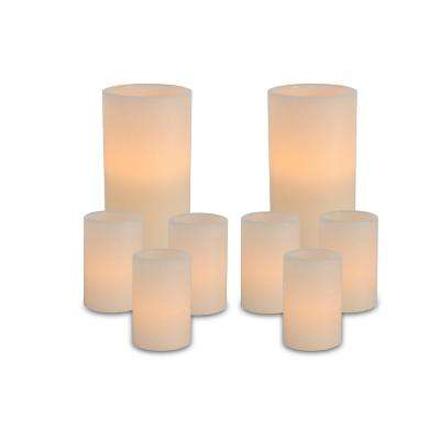 Bisque Color Battery Operated Straight Edge Indoor Wax Candles (Set of 8)