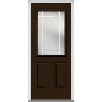 32 in. x 80 in. Internal Grilles Right-Hand Inswing 1/2-Lite Clear 2-Panel Painted Fiberglass Smooth Prehung Front Door