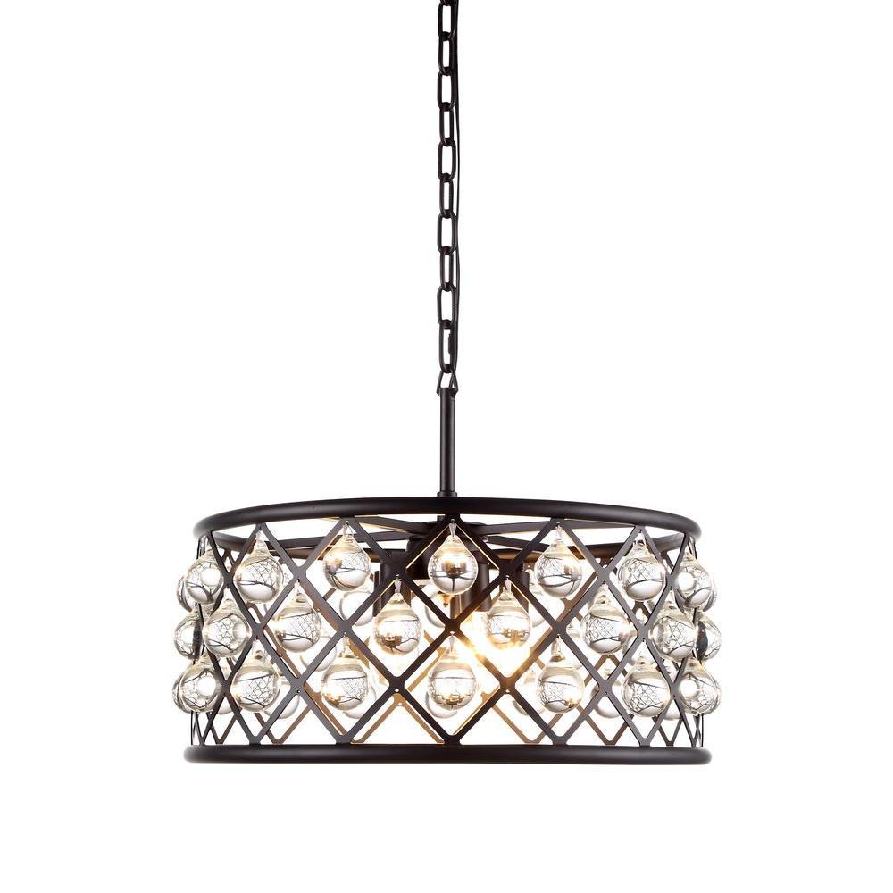 Madison 5-Light Mocha Brown Royal Cut Crystal Clear Pendant