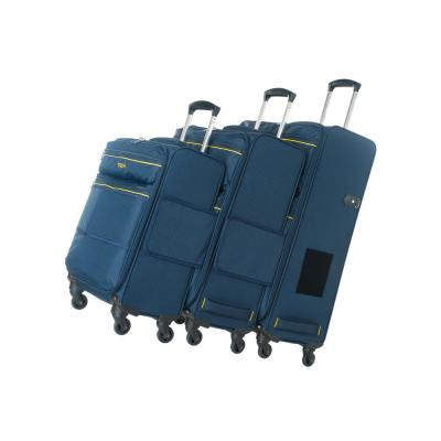 3-Piece Navy Blue Connectable Luggage