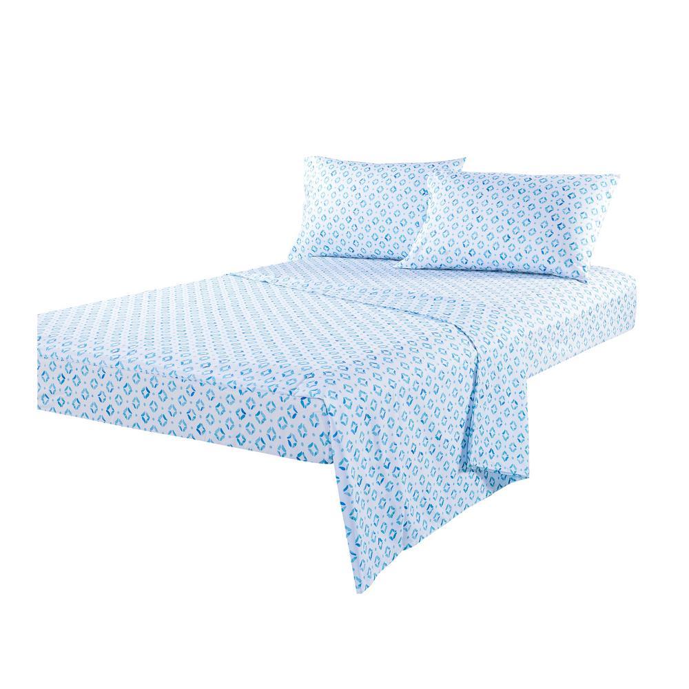 Sara B. Sundial Blue 3-Piece Cotton Sateen Twin Sheet Set SB43031MUL1