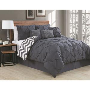 Ella Pinch Pleat Charcoal Twin Reversible Comforter with Bedskirt