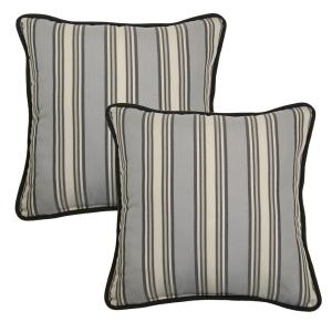 Hampton Bay 18 inch Cement Stripe Outdoor Toss Pillow with Welt (2-Pack) by Hampton Bay