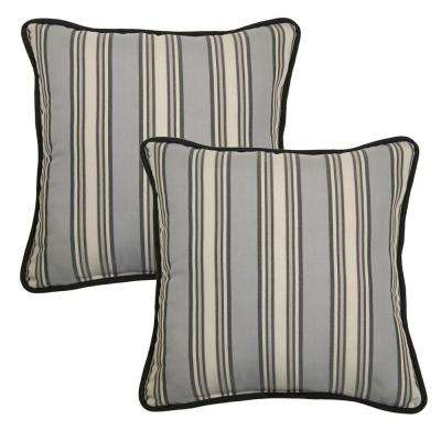 18 in. Cement Stripe Outdoor Toss Pillow with Welt (2-Pack)