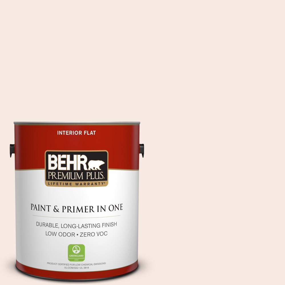 BEHR Premium Plus 1 gal. #210E-1 Bella Pink Flat Zero VOC Interior Paint and Primer in One