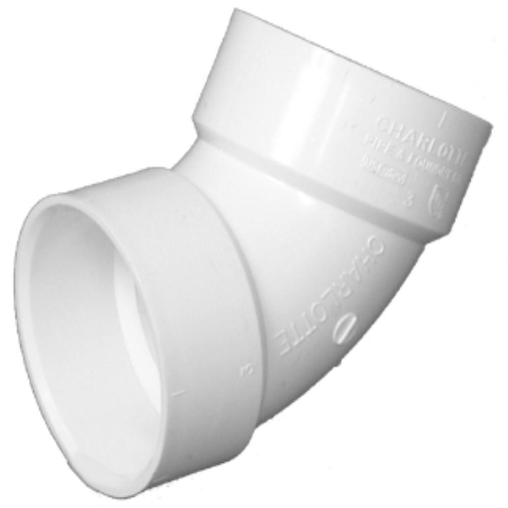 3 in. PVC DWV 22-1/2° Hub x Hub Elbow
