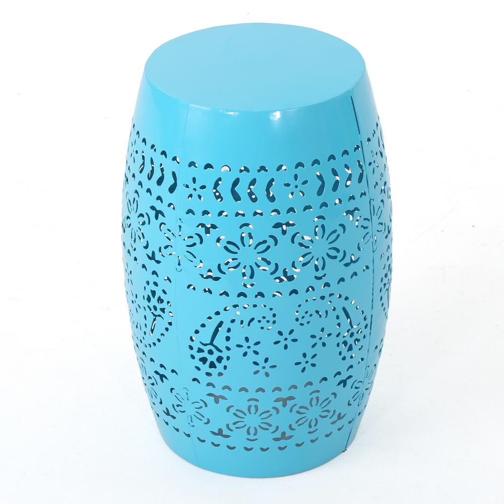 Marie Blue Round Metal Outdoor Side Table