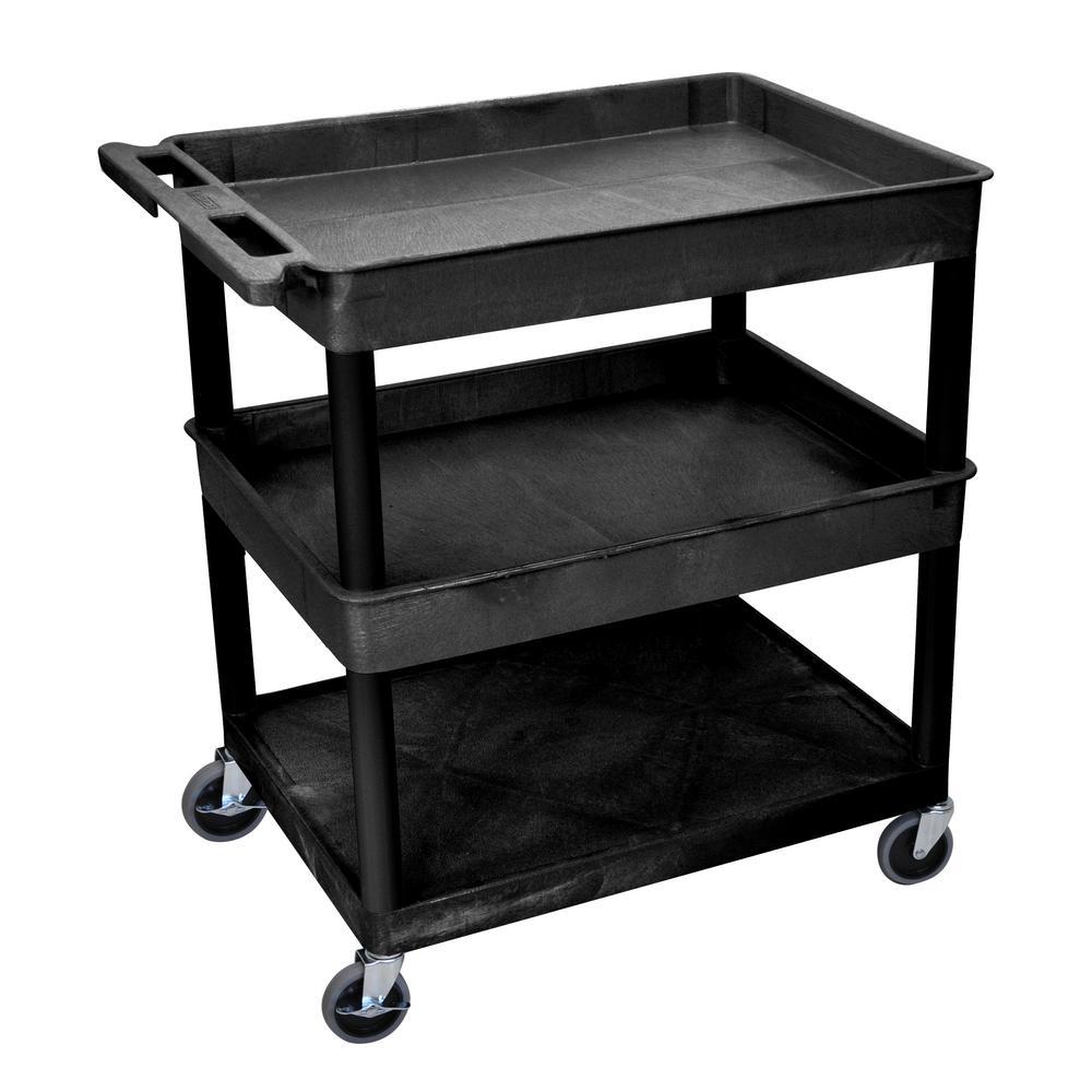 32 in. W x 24 in. D x 36.5 in. H with 2-Tub and 1-Flat Shelf Utility Cart in Black