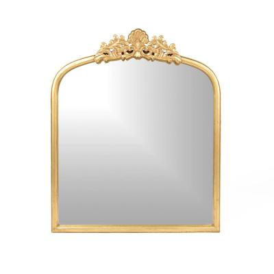 35 in. H x 30 in. W Classic Square Framed Gold Arch/Crown Accent Mirror
