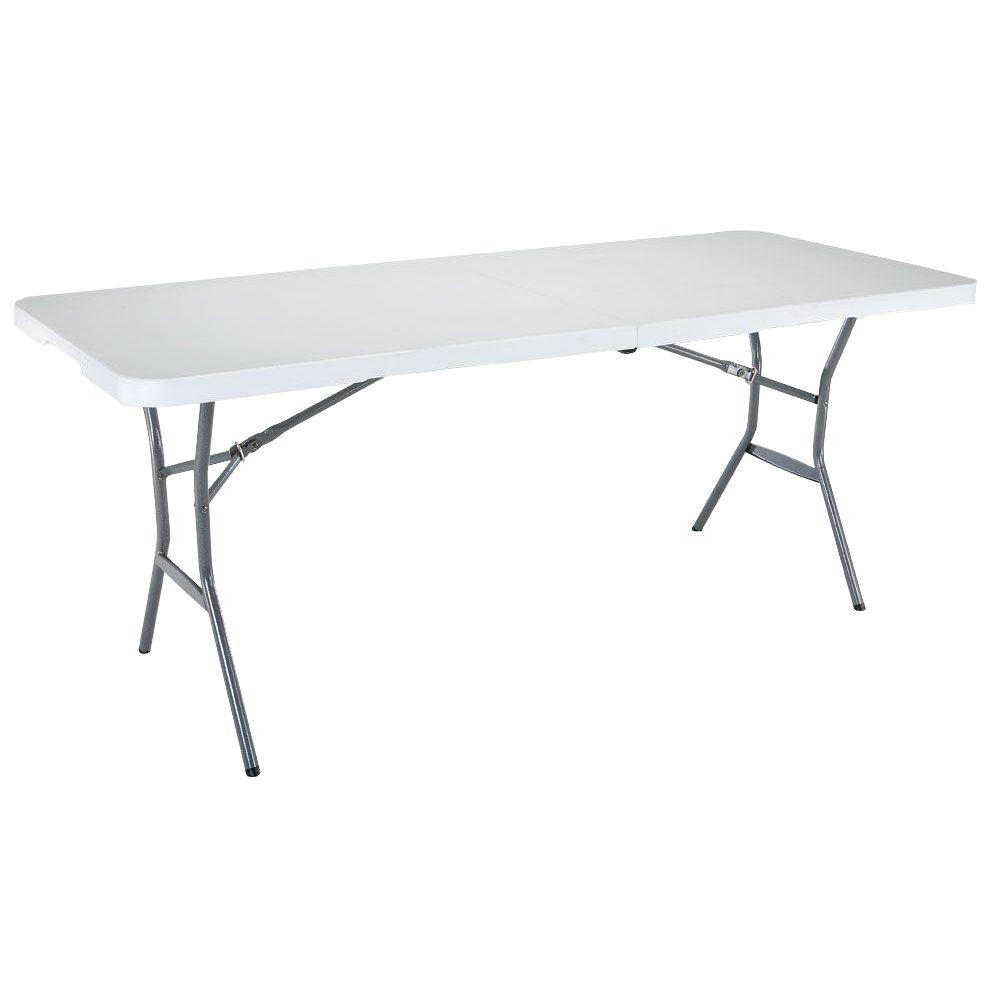 Lifetime Ft White Granite FoldInHalf Table The Home Depot - 6 foot round conference table