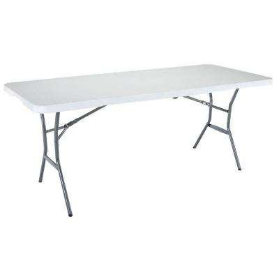 6 ft. White Granite Fold-In-Half Table