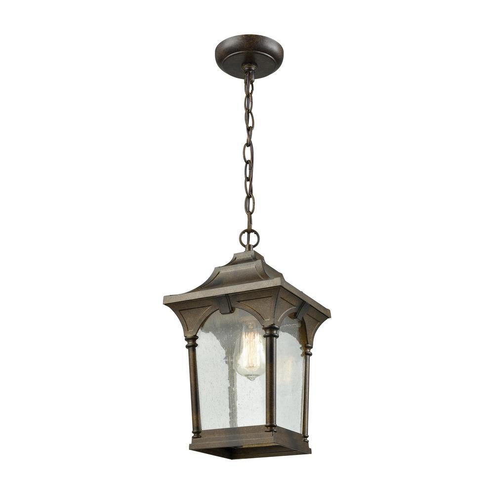 Loringdale Hazelnut Bronze 1-Light Outdoor Hanging Pendant