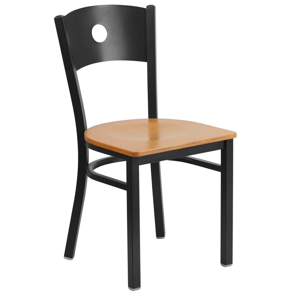 Hercules Series Black Circle Back Metal Restaurant Chair with Natural Wood Seat