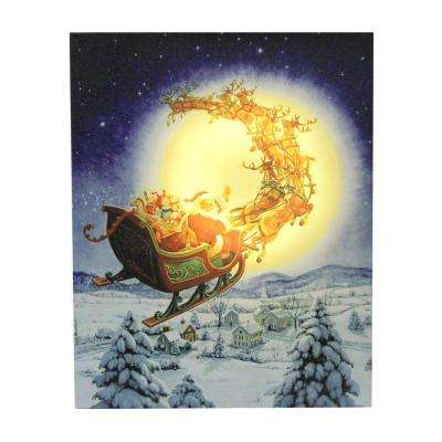 19.75 in. LED Back Lit Flying Santa Claus and Sleigh Christmas Wall Art