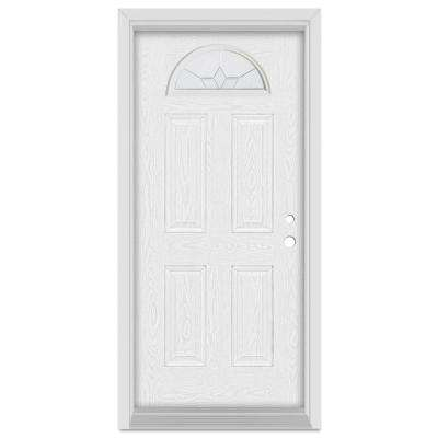 33.375 in. x 83 in. Geometric Left-Hand Half Moon Lite Zinc Finished Fiberglass Oak Woodgrain Prehung Front Door