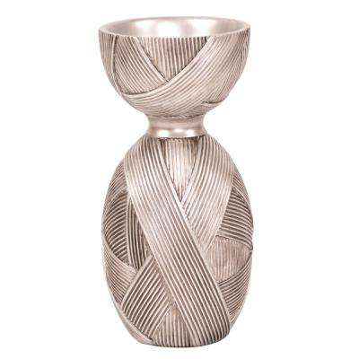 Silver Ribbon Hourglass Decorative Vase Large