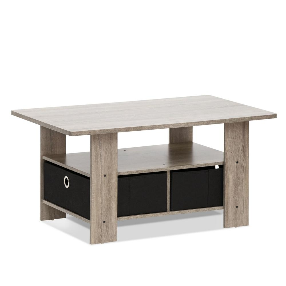 Home Living French Oak Grey And Black Built In Storage Coffee Table