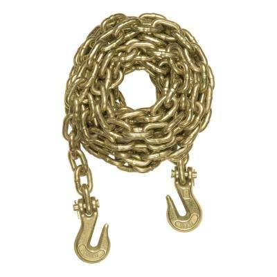 14' Transport Binder Safety Chain with 2 Clevis Hooks (26,400 lbs., Yellow Zinc)