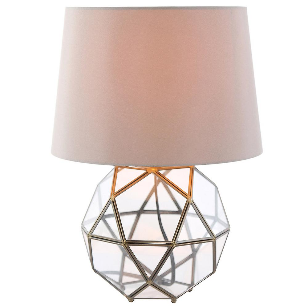 River of Goods 16.5 in. H Metal and Glass Table Lamp with Beige Shade