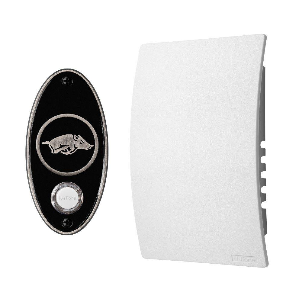 NuTone College Pride University of Arkansas Wired/Wireless Door Chime Mechanism and Pushbutton Kit - Satin Nickel
