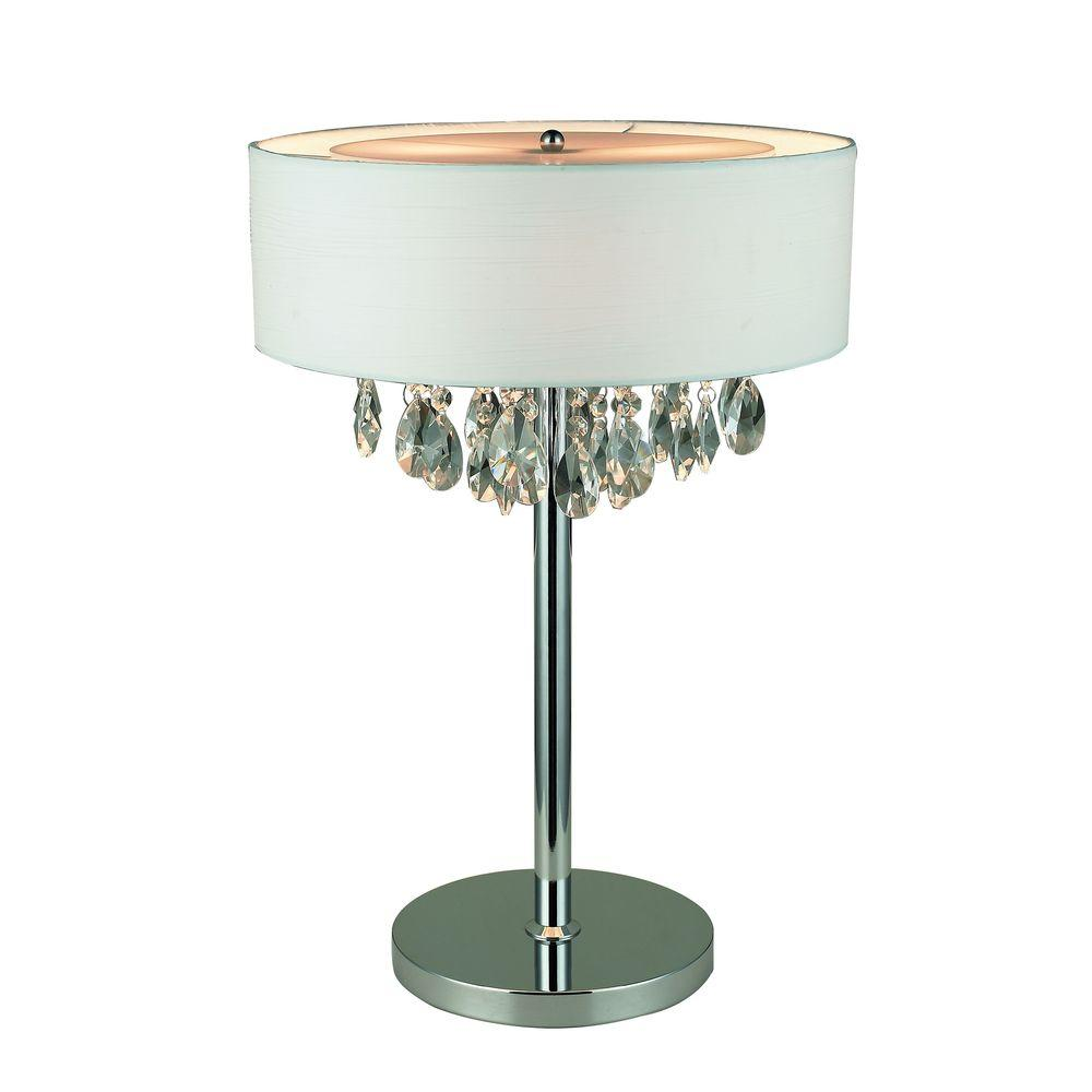 Elegant Designs Romazzino Crystal Collection 22.25 In. Chrome Table Lamp  With White Ruched Fabric Drum