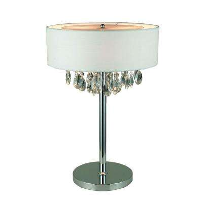 Romazzino Crystal Collection 22.25 in. Chrome Table Lamp with White Ruched Fabric Drum Shade