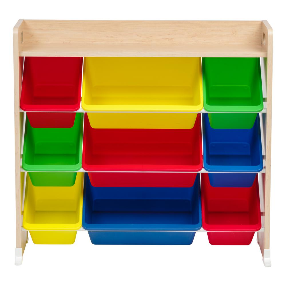 iris primary 3-tier multi-colored toy storage bin rack with