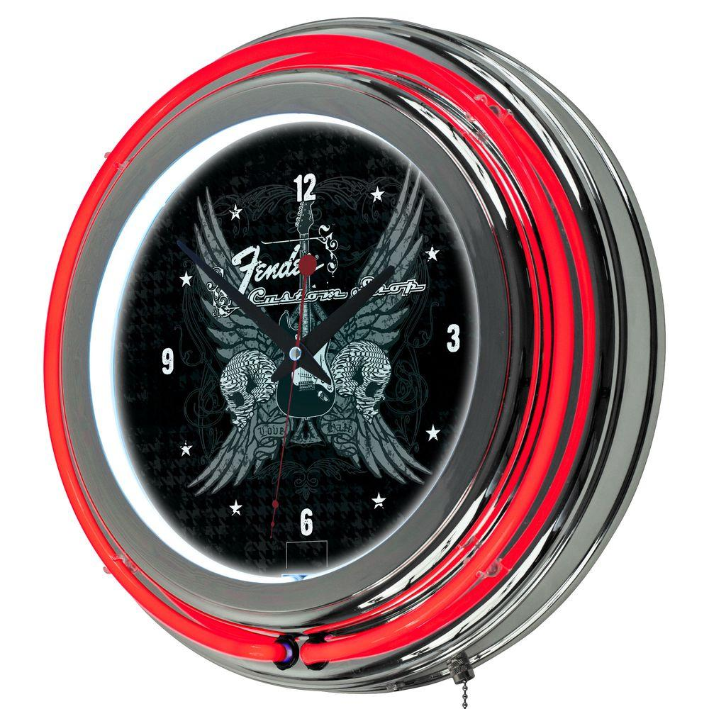 Trademark 14 in. Fender Fine Wings to the Strat Double Ring Neon Wall Clock