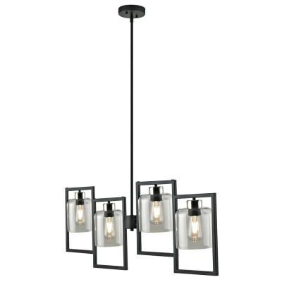 4-Light Chandelier with Frames, Black Finish and Brushed Nickel Accents