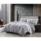 Balta 3-Piece Brown Geometric T20 Cotton King Duvet Cover Set