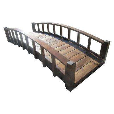 8 ft. Japanese Wood Garden Moon Bridge with Arched Railings - Treated