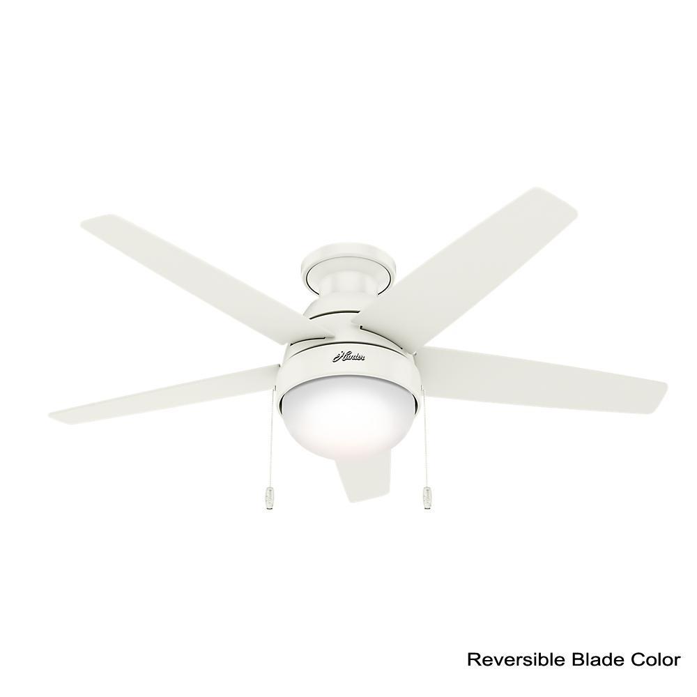 Hunter Parmer 46 In Led Indoor Fresh White Flush Mount Ceiling Fan With Light Kit 59587 The Home Depot