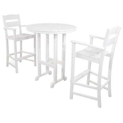 Classics White 3-Piece Plastic Outdoor Patio Bar Set