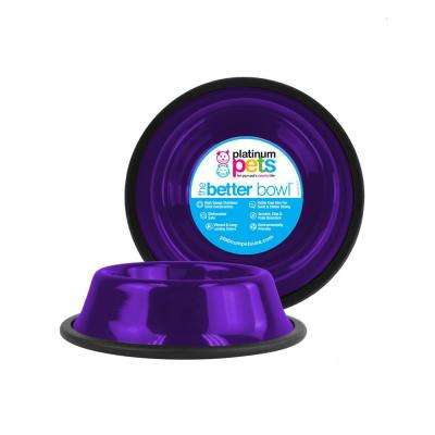 Platinum Pets Non-Embossed Non-Tip Stainless Steel Cat/Dog Bowl, Electric Purple