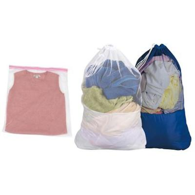Blue and White Mesh Laundry Bags with Nylon Bottom