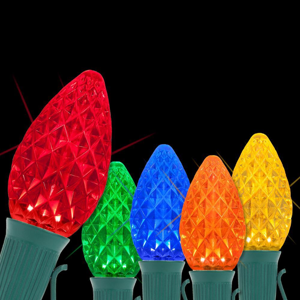 OptiCore 24 ft. 25-Light LED Multi-color Faceted C7 Twinkle String Light Set