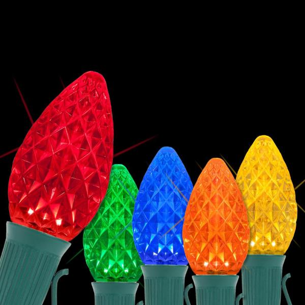 OptiCore 24 ft. 25-Light LED Multi-color Faceted C7 Twinkle String Light Set