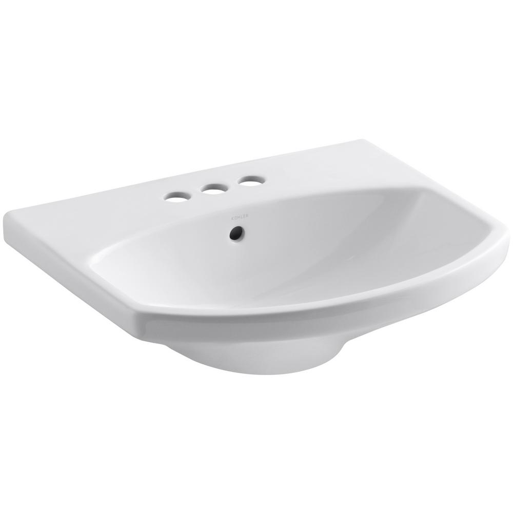 KOHLER Elmbrook 7.6875 in. Pedestal Sink Basin in White with 4 in. Centerset Faucet Holes