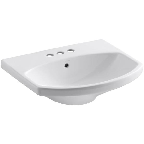 Elmbrook 7.6875 in. Pedestal Sink Basin in White with 4 in. Centerset Faucet Holes