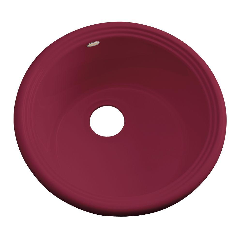 Thermocast Hampton Drop-In Acrylic 18 in. Single Basin Entertainment Sink in Ruby