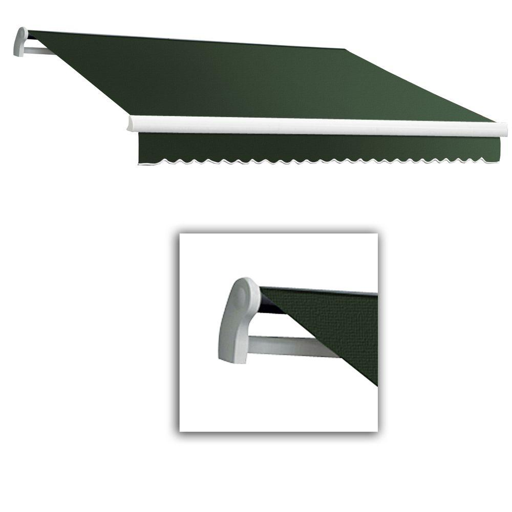 AWNTECH 18 ft. Maui-LX Left Motor Retractable Acrylic Awning with Remote (120 in. Projection) in Olive/Alpine