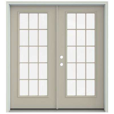 72 in. x 80 in. Desert Sand Prehung Right-Hand Inswing 15 Lite French Patio Door with Brickmould