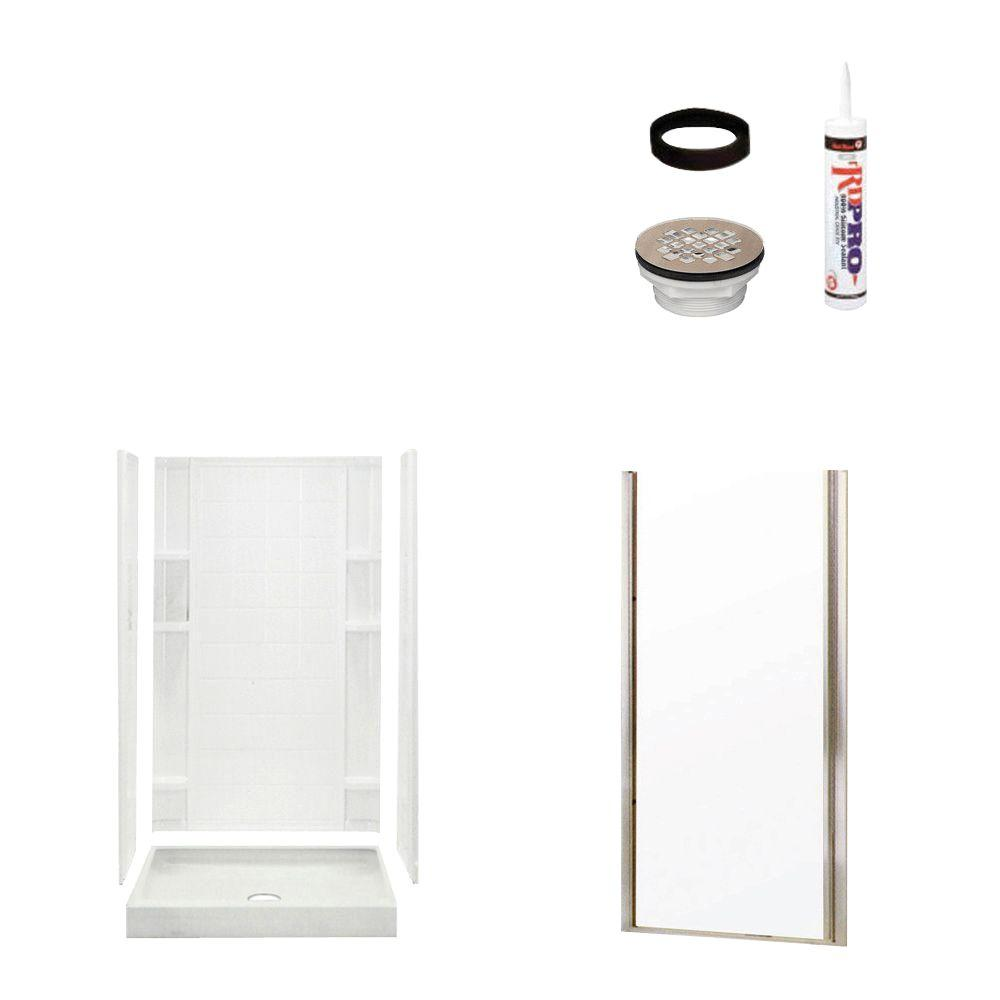 STERLING Ensemble Tile 34 in. x 36 in. x 75-3/4 in. Shower Kit with Shower Door in White/Nickel-DISCONTINUED